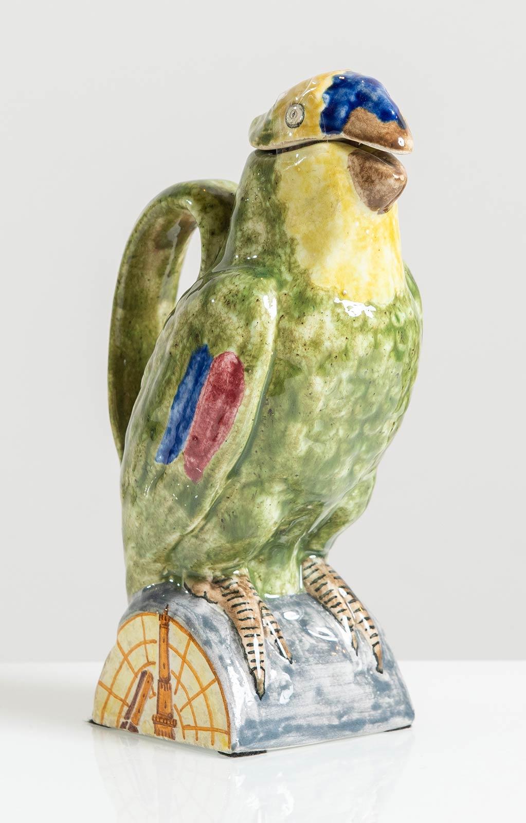 Manifattura Minghetti - Bologna, Versatoio a foggia di pappagallo in ceramica, Anni '30.
