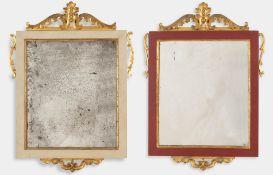 Due specchiere in legno intagliato, dorato e dipinto, XIX sec.