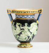 Manifattura Minghetti - Bologna, Vasetto a cratere in ceramica, inizio del XX sec.