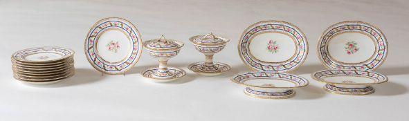 Parte di servizio da dessert in porcellana, Inghilterra, XIX sec.