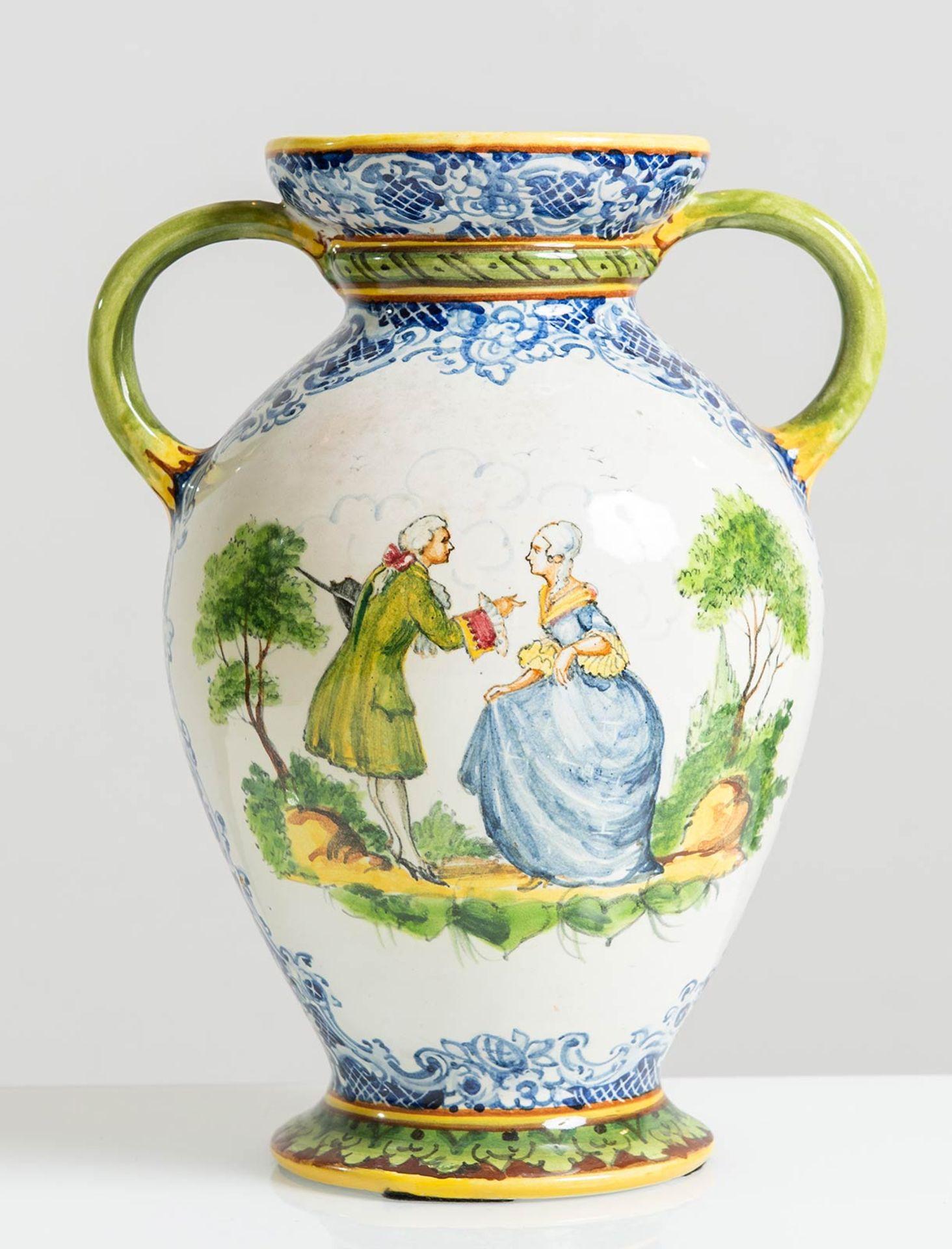 Los 5 - Manifattura Minghetti - Bologna, Vaso in ceramica con due manici, Anni '30.