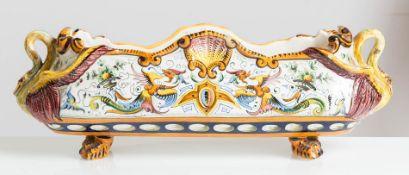 Manifattura Toscana, Centrotavola di forma ovoidale in ceramica, inizio del XX sec.