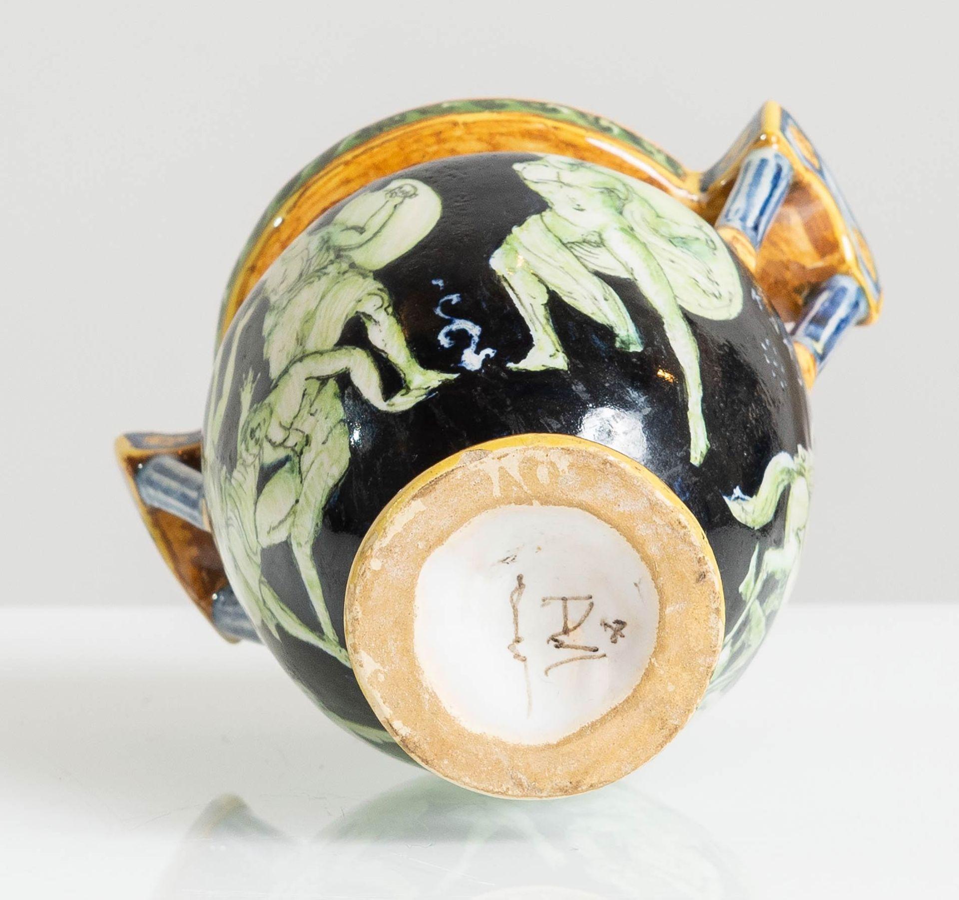 Los 2 - Manifattura Minghetti - Bologna, Vasetto a cratere in ceramica, inizio del XX sec.