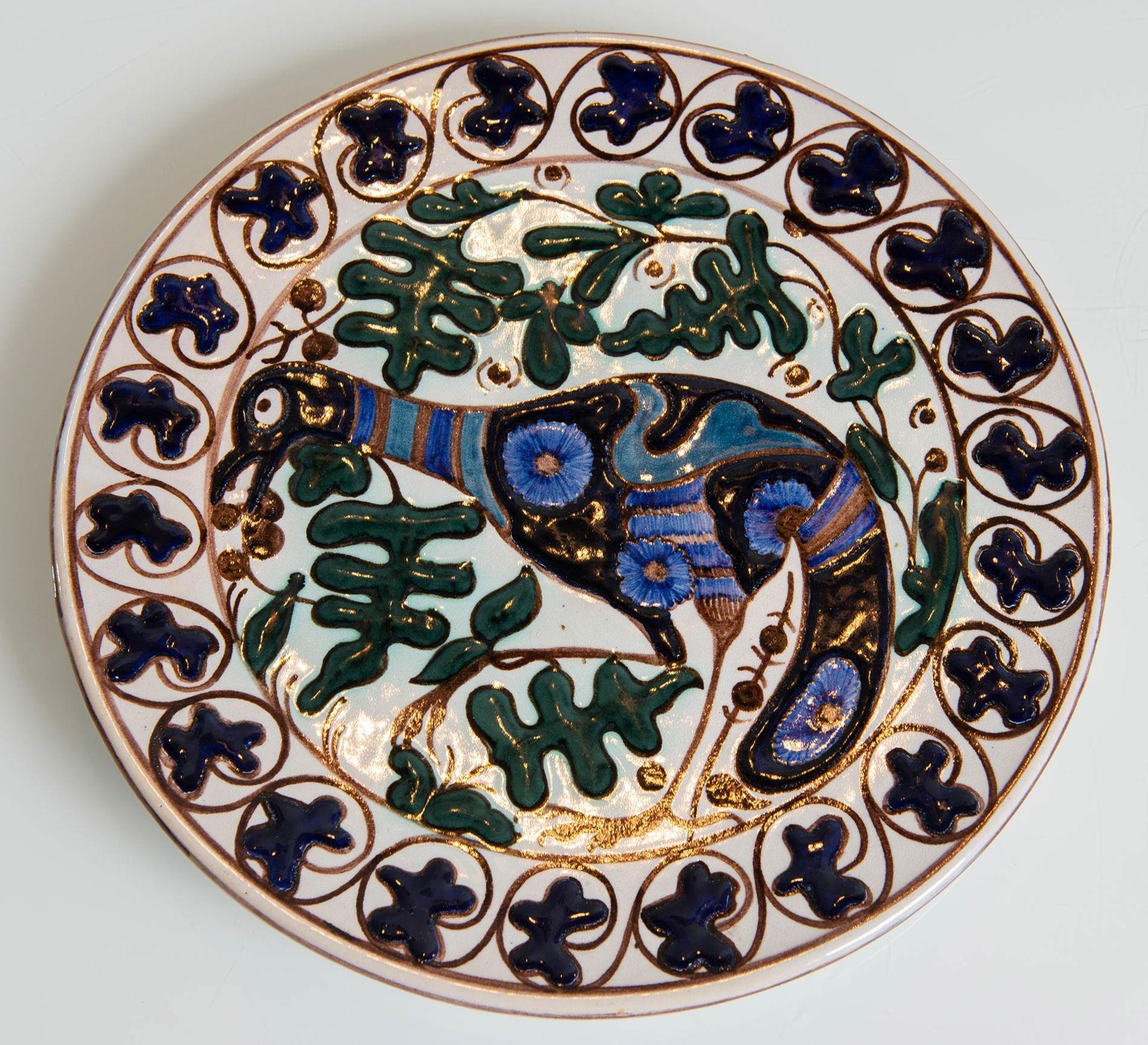 Los 20 - Regia Scuola Faenza, Piatto circolare in ceramica, Anni '30.