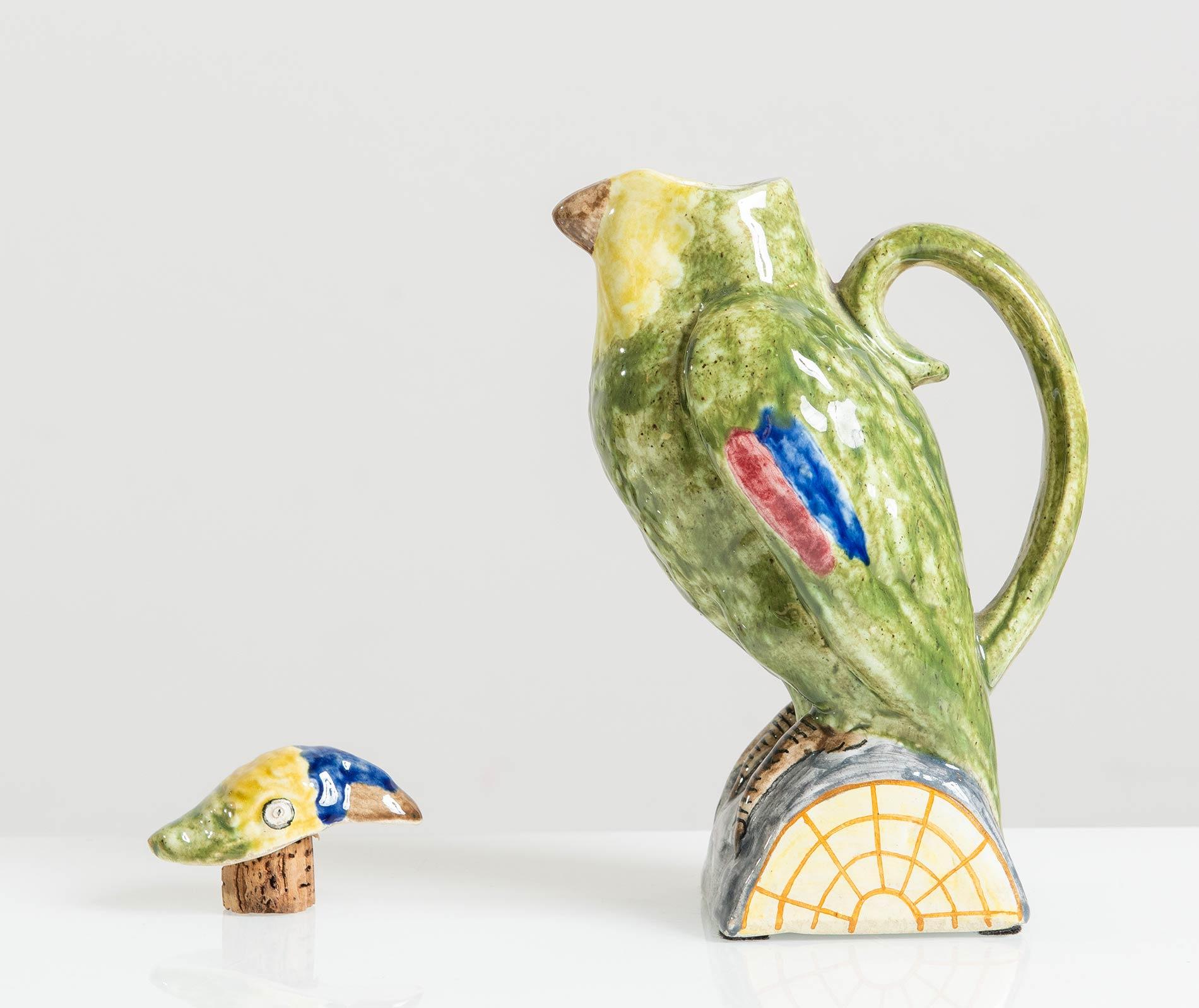 Manifattura Minghetti - Bologna, Versatoio a foggia di pappagallo in ceramica, Anni '30. - Image 3 of 5