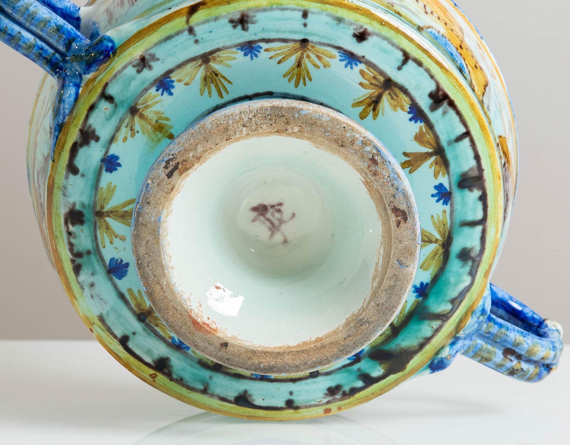 Los 53 - Coppa circolare a due manici in ceramica, Italia, inizio del XX sec.