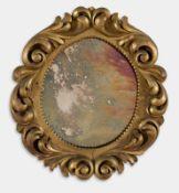 Specchierina ovale in legno intagliato e dorato, inizio del XX sec.