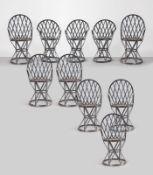 Produzione Artigianale, Gruppo di undici sedie in ferro da esterno, XX sec.