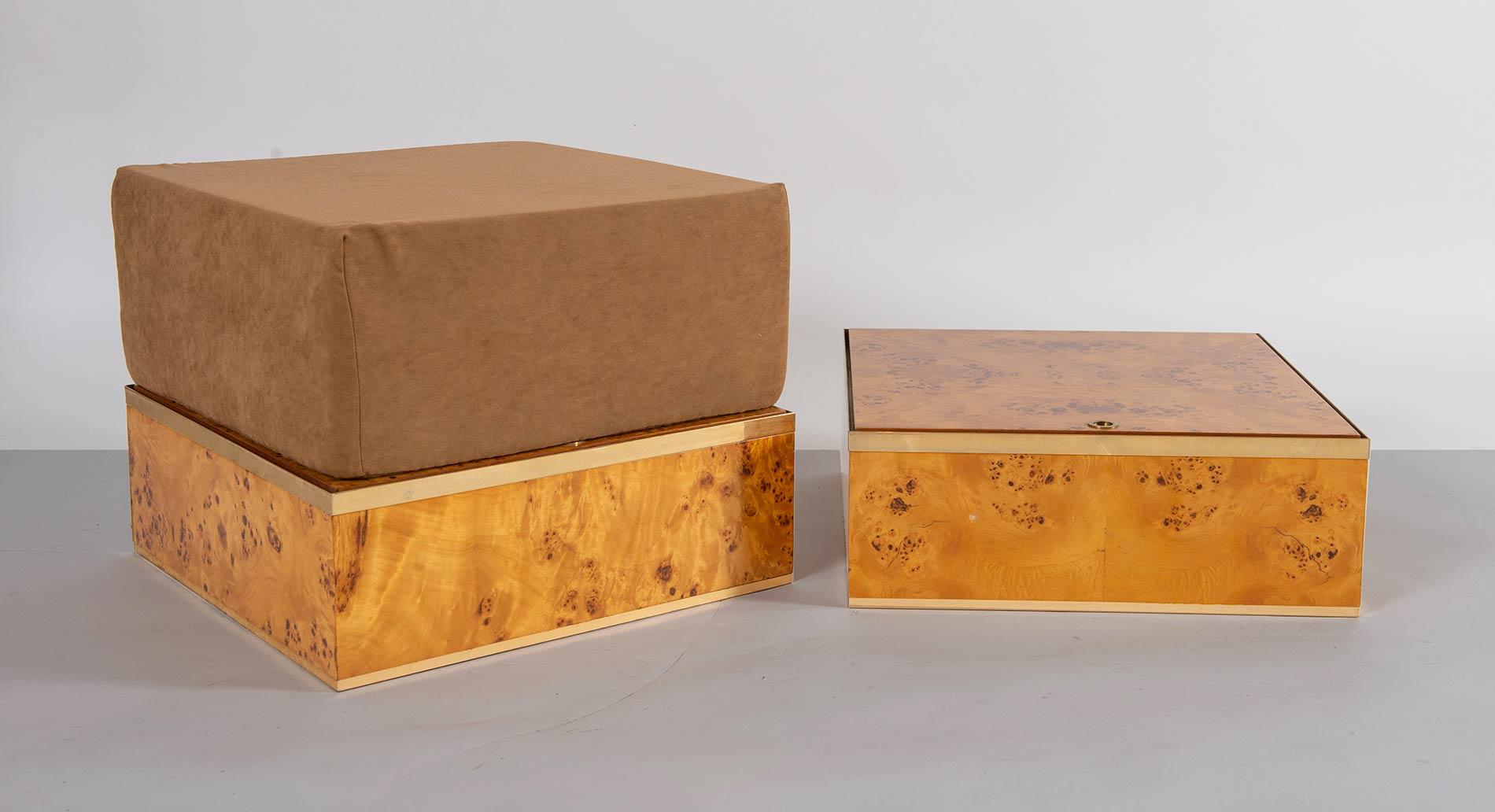 Fratelli Turri – Carugo, Due contenitori con pouf Flore A, Collezione Privilège, 1975.