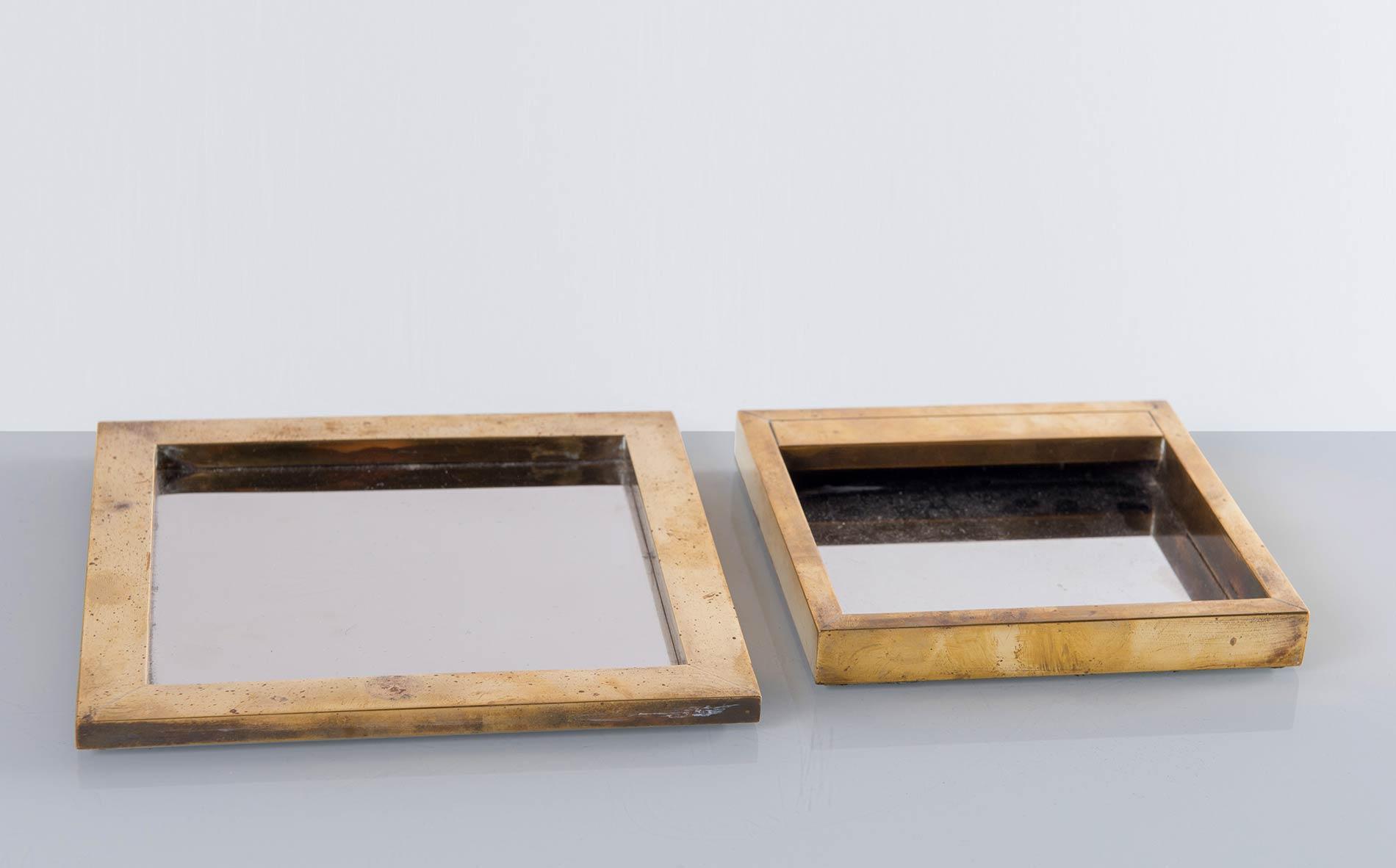 Due pezzi da scrivania in ottone, Italia - Anni '70.