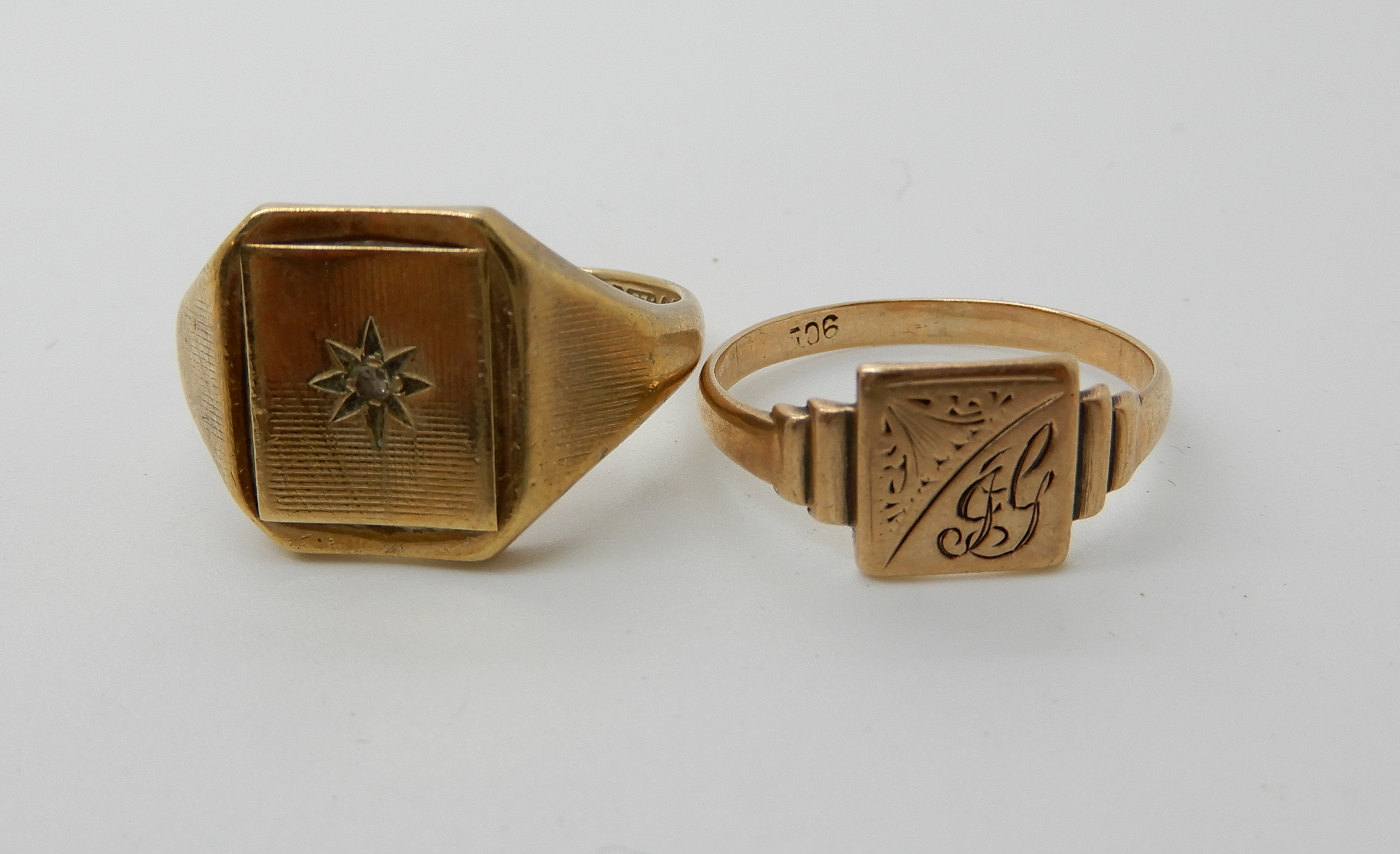Lot 38 - A 9ct gold diamond set gents signet ring V1/2 and a ladies example size Q1/2, combined weight 8.6gms