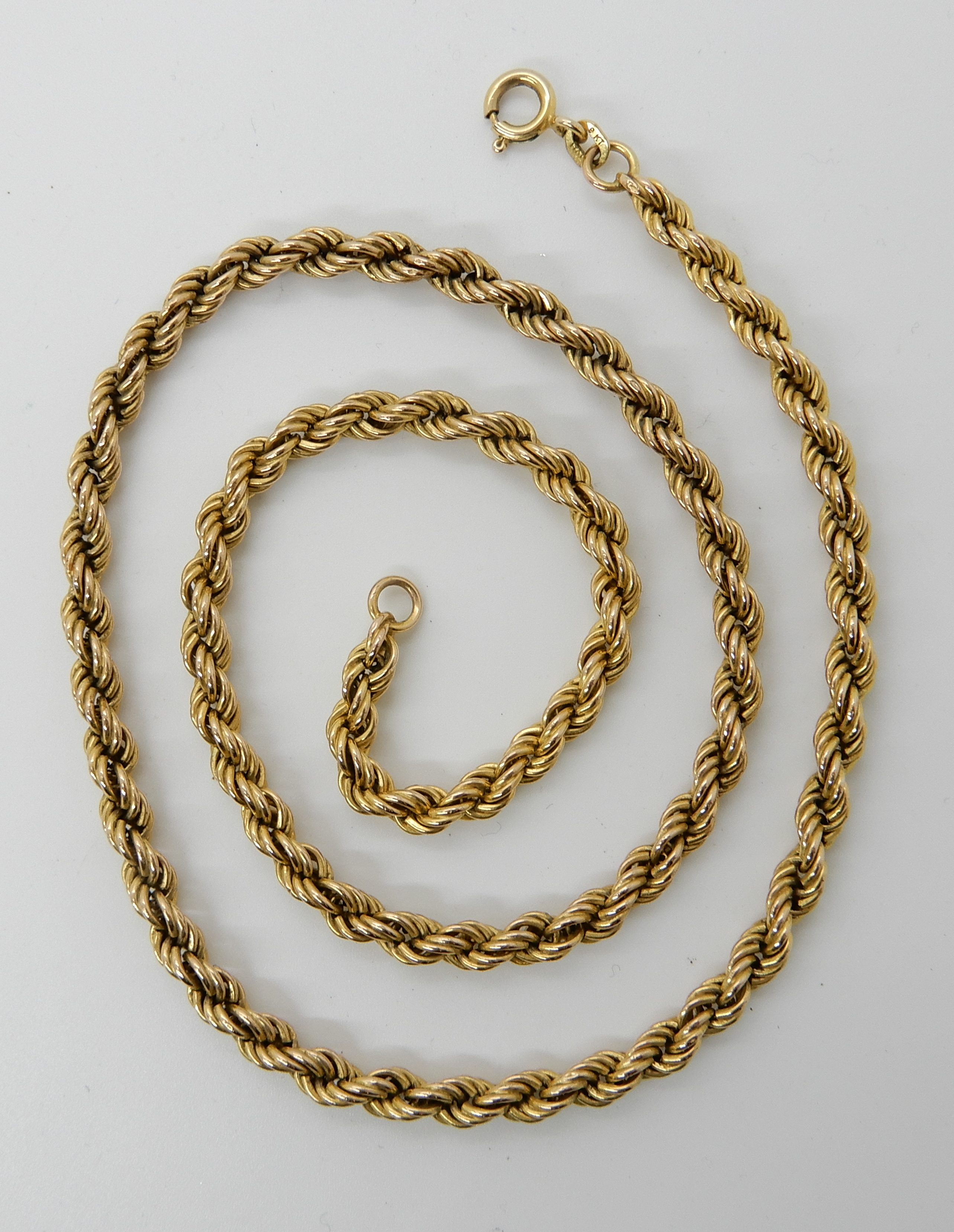 Lot 49 - A 9ct gold rope chain, length 50.5cm, weight 9.2gms Condition Report: Available upon request