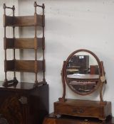 A mahogany toilet mirror and open set of bookshelves (2) Condition Report: Available upon request