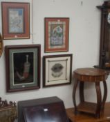 An octagonal inlaid occasional table, two prints etc (5) Condition Report: Available upon request