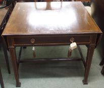 A mahogany inlaid table with drop flaps and single drawer with square tapering legs Condition