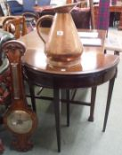 A walnut barometer, copper jug and demi-lune card table (3) Condition Report: Available upon