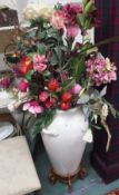 A large vase with artificial flowers Condition Report: Available upon request