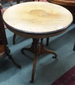 A rosewood circular inlaid table on tripod base Condition Report: Available upon request