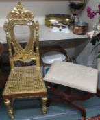 A gilt chair and a footstool (2) Condition Report: Available upon request