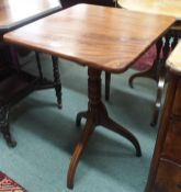 A mahogany tilt top table on tripod base Condition Report: Available upon request