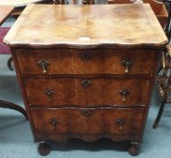 A small walnut three drawer chest, 73cm high x 61cm wide Condition Report: Available upon request