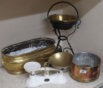 A set of Salter scales and a brass and copper planter etc Condition Report: Available upon request
