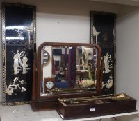 A dressing mirror, Chinese plaques, firescreen and brassware Condition Report: Available upon