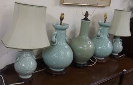 Two pairs of Chinese style table lamps and another Chinese style lamp (5) Condition Report: