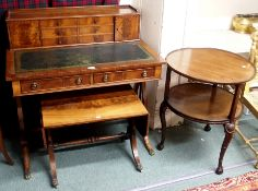A reproduction mahogany writing desk, circular occasional table and a small sofa table (3) Condition