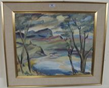 An oil on board rural scene Condition Report: Available upon request
