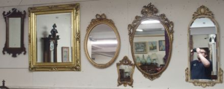 Six assorted wall mirrors (6) Condition Report: Available upon request