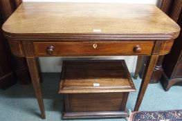 A mahogany fold over table with single drawer Condition Report: Available upon request