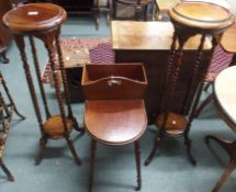 A pair of reproduction plant stands and a mahogany work table (3) Condition Report: Available upon