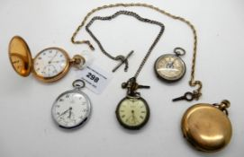 A lot comprising two rolled gold pocket watches, an omega pocket watch, two fob watches and two