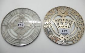 A lot comprising a silver overlaid glass teapot stand decorated with a crown and 1937, Birmingham