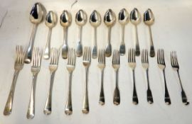 A lot comprising twenty assorted silver spoons and forks, 919gms Condition Report: Available upon