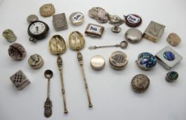 A lot comprising assorted silver and silver plate pill boxes, gilt anointing spoons, pair cased