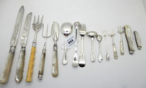 A lot comprising assorted silver and mother of pearl knives, forks etc with two silver and mother of
