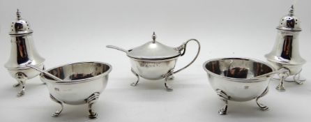 A five piece silver condiment set, Birmingham 1918, 166gms total Condition Report: Available upon