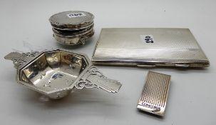 A lot comprising a silver cigarette case, money clip, tea strainer and a jewellery box, assorted