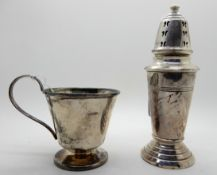 A lot comprising a silver sugar castor, 16.5cm high (weighted), rubbed Birmingham marks and a silver
