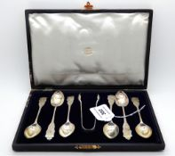 A cased set of six silver teaspoons with tongs, Sheffield 1900 Condition Report: Available upon