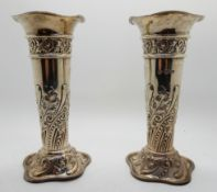A pair of silver vases, Sheffield 1900, 16.2cm high, 394gms Condition Report: Available upon