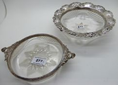 A lot comprising two silver mounted glass dishes, Sheffield 1913 and Birmingham 1898, the longest