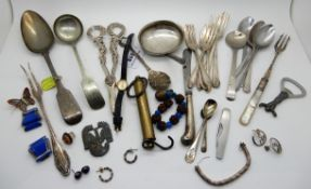 A mixed lot of silver and plated cutlery, grape scissors, spoons, forks etc Condition Report: