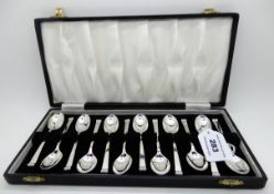 A cased set of twelve silver coffee spoons, Sheffield 1957 Condition Report: Available upon request
