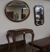 Two wall mirrors and a dressing stool (3) Condition Report: Available upon request