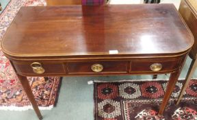 A mahogany fold over tea table with single drawer Condition Report: Available upon request