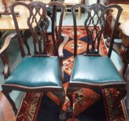 A set of six mahogany Chippendale style dining chairs (Two carvers and four chairs) Condition
