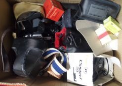 Two boxes of assorted cameras and camcorder's including Olympus, Canon etc (2) Condition Report: